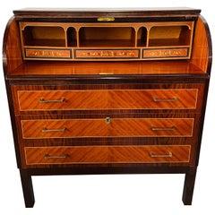 Edwardian Sheraton Revival Style Flame Mahogany Cylinder Desk or Commode