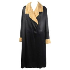 Edwardian Silk Ermine Fur Duster Coat
