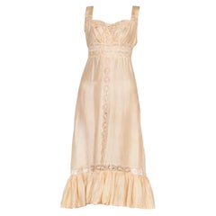 1920'S Ecru Silk & Lace Hand Sewn Edwardian Slip Dress