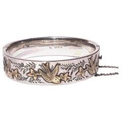 Edwardian Silver and Gold Bird Bangle