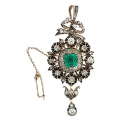 Edwardian Silver and Gold Diamond and Colombian Emerald Brooch
