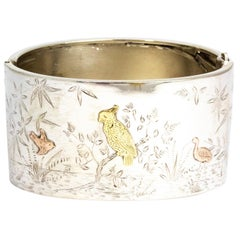Edwardian Silver and Gold Tapered Bangle