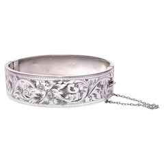 Edwardian Silver Engraved Bangle