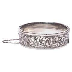 Edwardian Silver Engraved Bangle