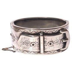 Edwardian Silver Ornate Buckle Bangle