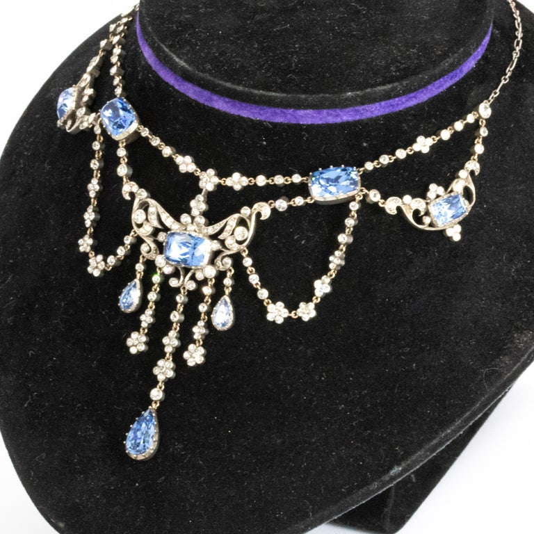 Stunning Georgian inspired silver paste necklace. The sparkle on this piece is just beautiful and sits perfectly.  Length: 16 1/2inches