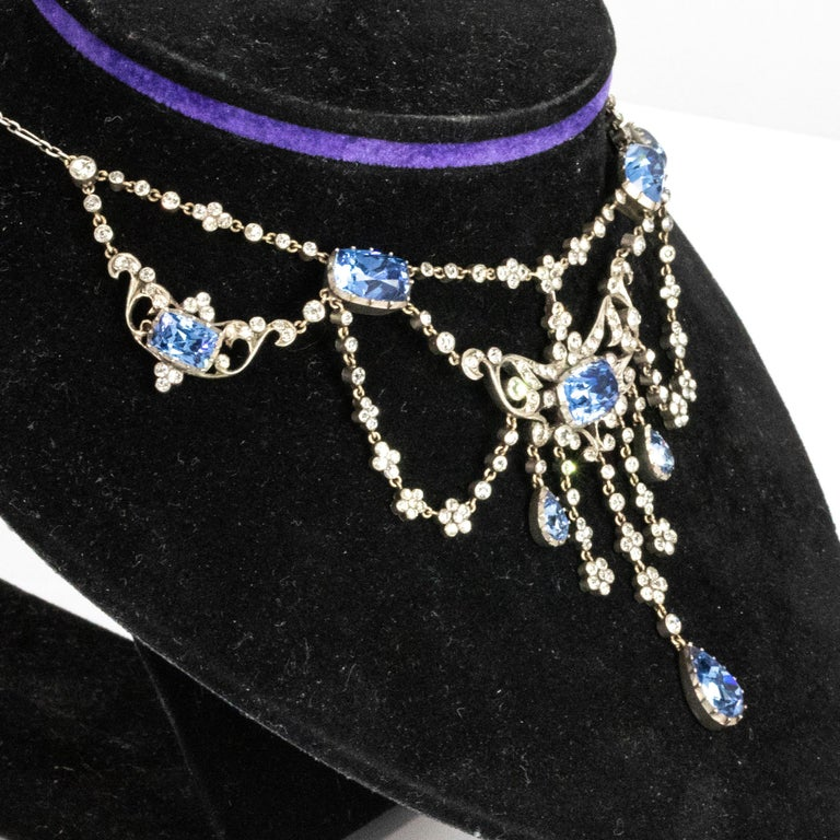 Edwardian Silver Paste Georgian Style Necklace In Good Condition For Sale In Chipping Campden, GB