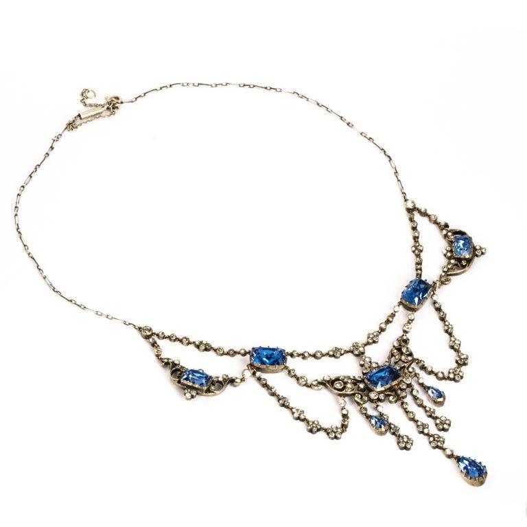 Women's or Men's Edwardian Silver Paste Georgian Style Necklace For Sale