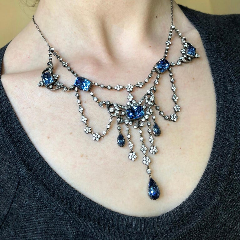 Edwardian Silver Paste Georgian Style Necklace For Sale 2
