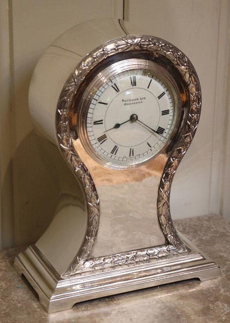 British Edwardian Silver Plated Balloon Clock For Sale