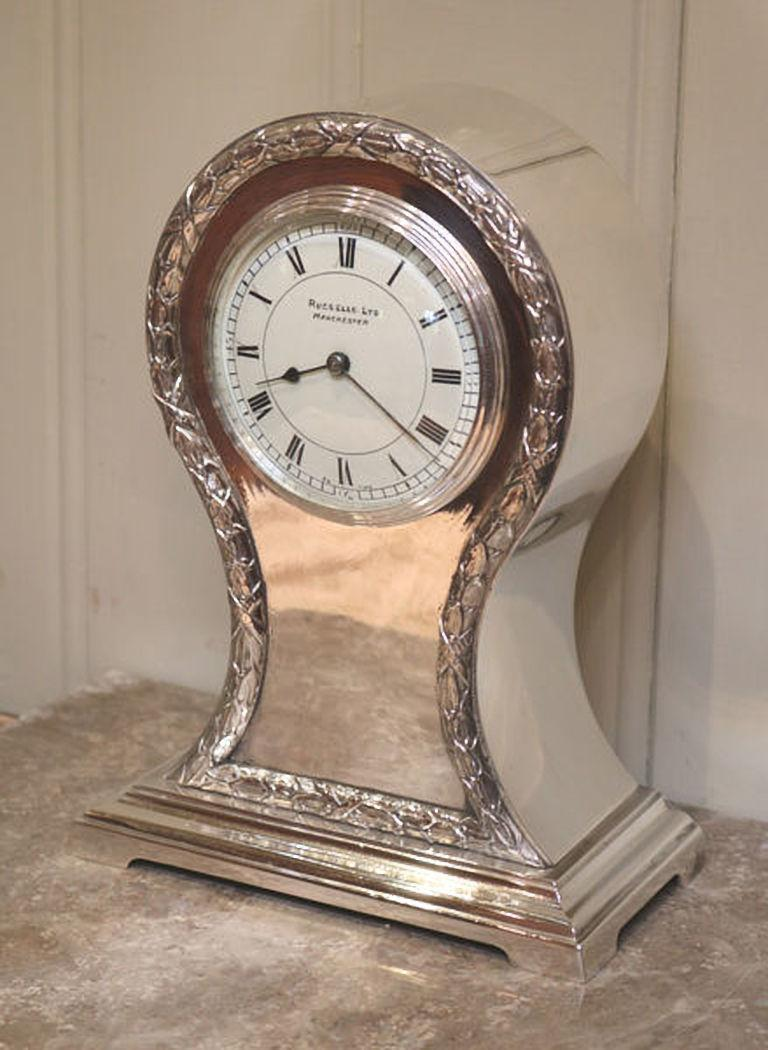 Edwardian Silver Plated Balloon Clock In Good Condition For Sale In Beaconsfield, GB