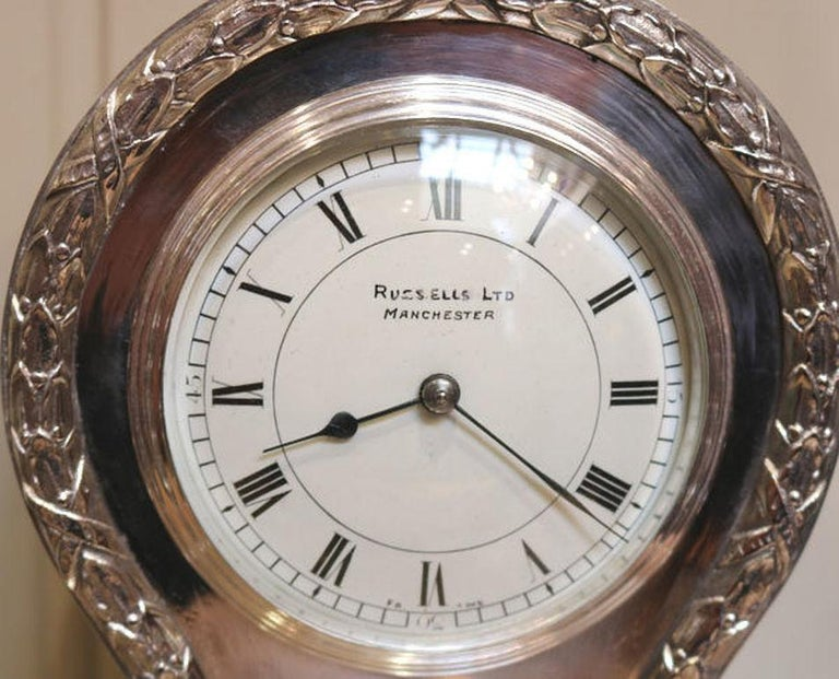 20th Century Edwardian Silver Plated Balloon Clock For Sale