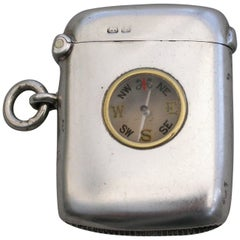 Edwardian Silver Vesta Case with Inset Compass by Cohen & Charles, Chester, 1901