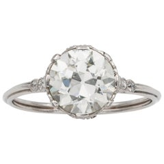 GCS Certified 1.95 Carat Edwardian Old-Cut Diamond Ring