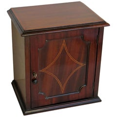 Edwardian Small Table Cabinet or Box Inlaid Mahogany Lockable with Key, Ca.1905