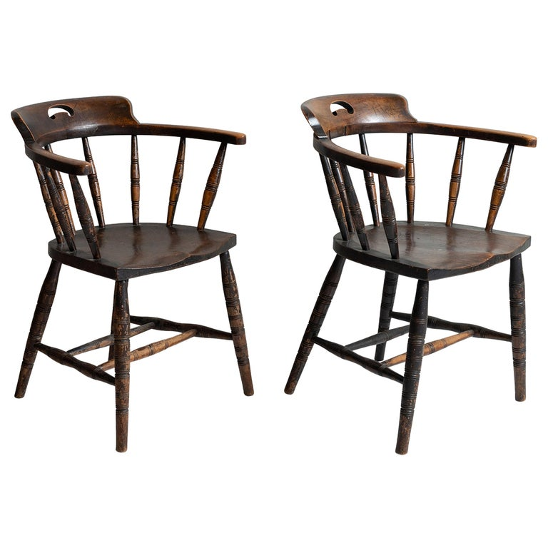 Edwardian Smokers Bow Chairs, England, circa 1910 For Sale