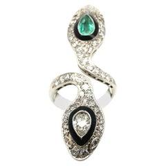Edwardian Snake Ring with Emeralds and Diamonds
