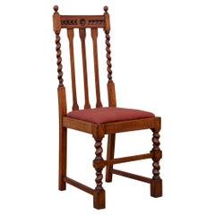 Edwardian Solid Oak Barley Twist Side Chair Red Upholstery