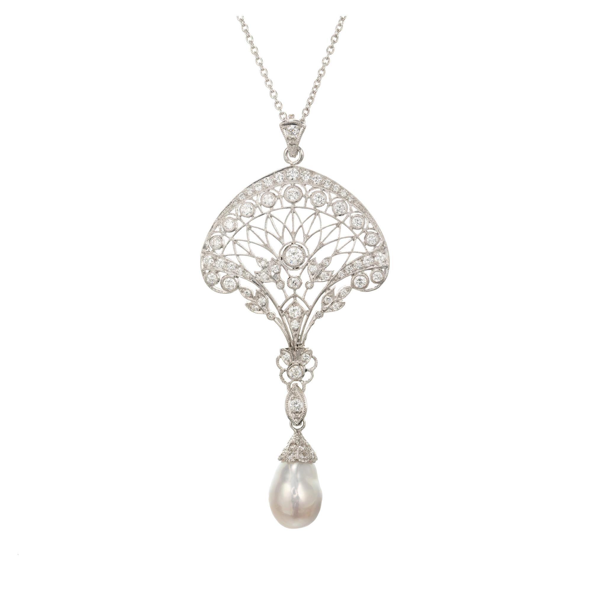 Edwardian South Sea Baroque Pearl Pave Diamond Platinum Pendant Necklace