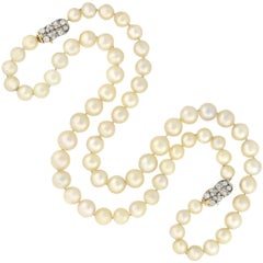 Edwardian South Sea Pearl Convertible Necklace with Diamond Clasps