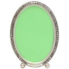 Edwardian Sterling Silver Acid Etched Oval Picture Frame by William B. Kerr