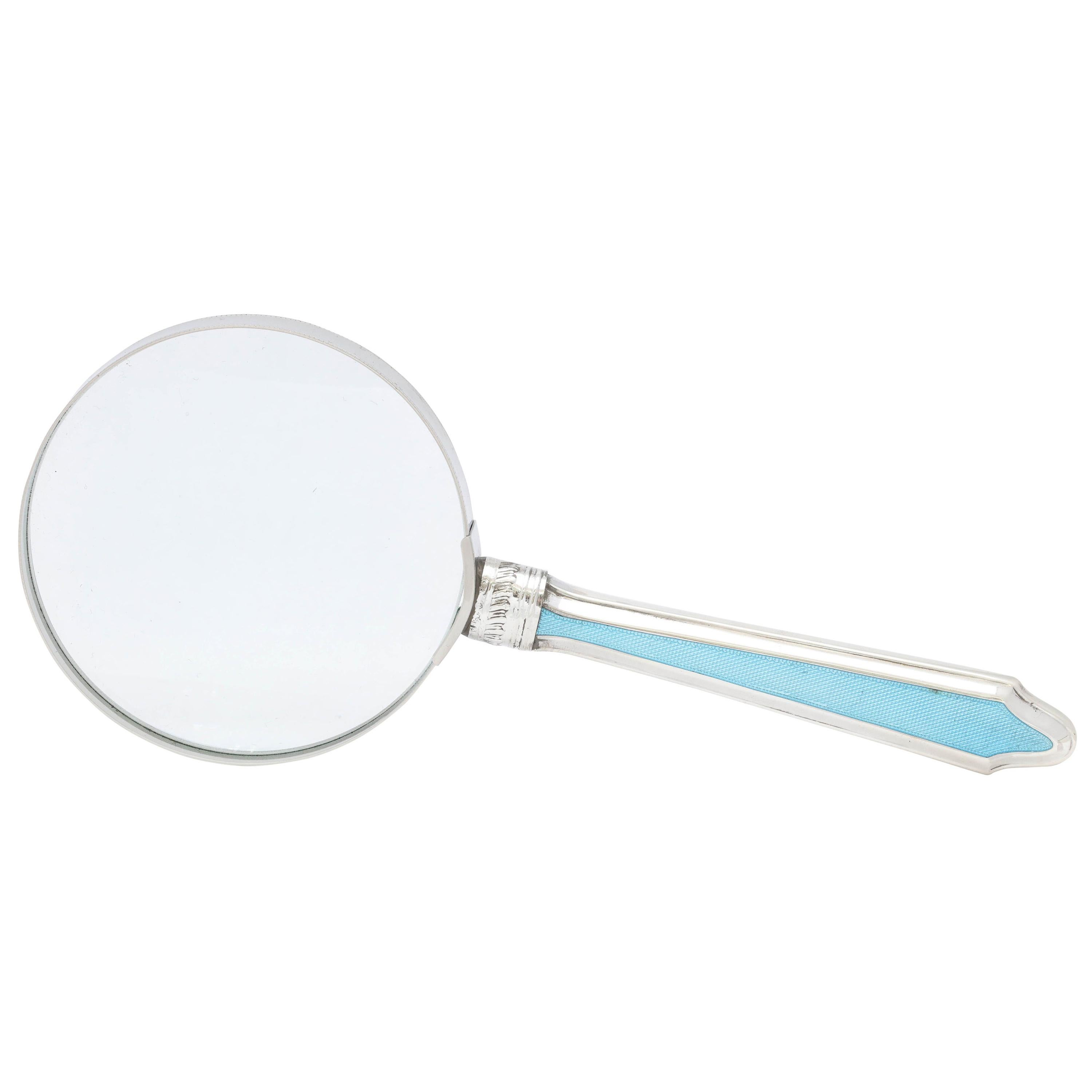 Edwardian Sterling Silver and Blue Guilloche Enamel-Mounted Magnifying Glass