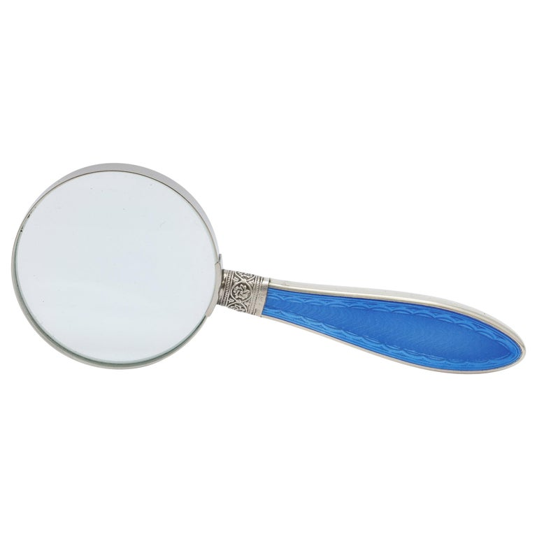 Edwardian Sterling Silver and Dark Blue Enamel, Mounted Magnifying Glass For Sale
