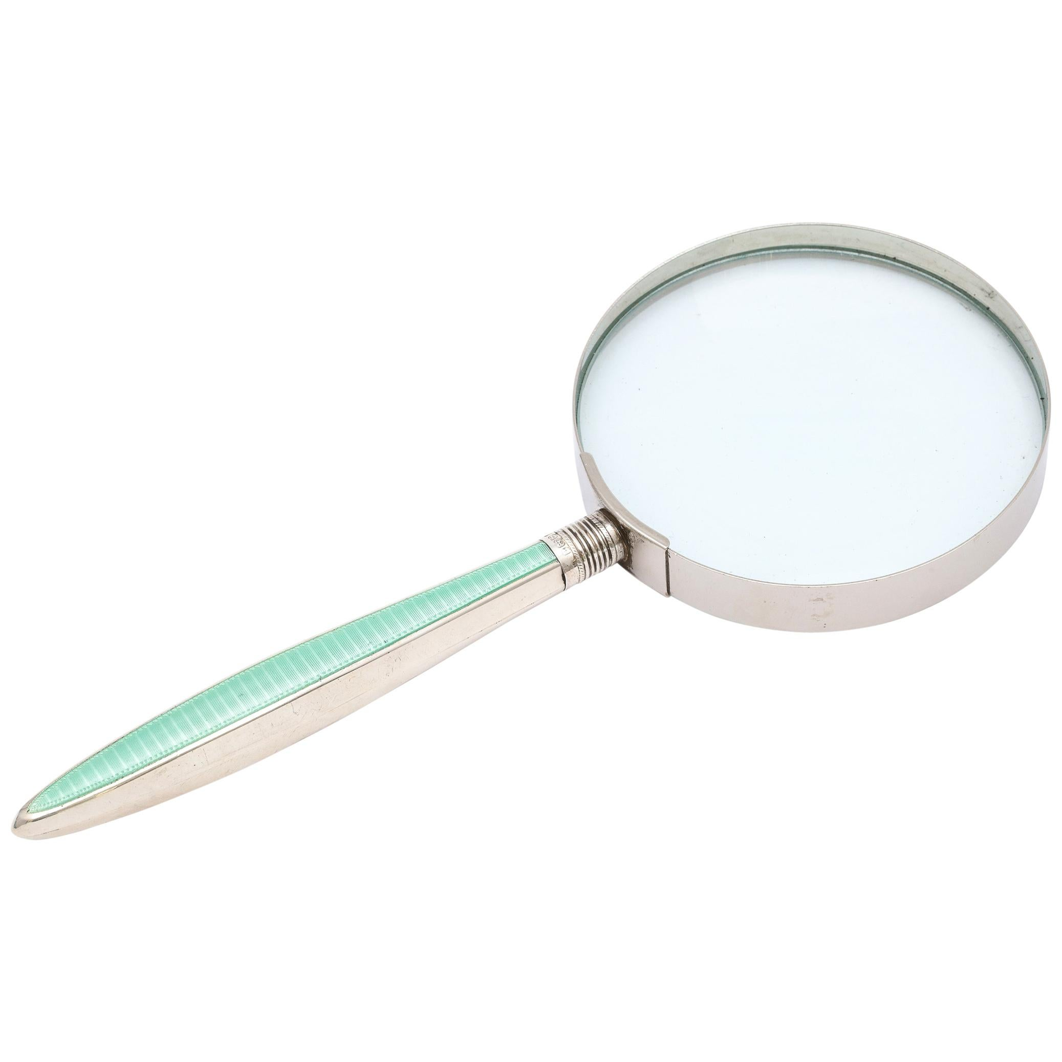 Edwardian Sterling Silver and Mint Green Enamel-Mounted Magnifying Glass