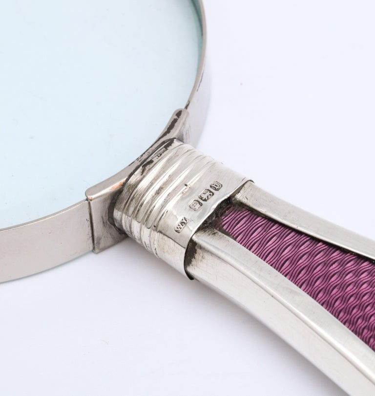 Edwardian Sterling Silver and Purple Guilloche Enamel-Handled Magnifying Glass In Good Condition For Sale In New York, NY