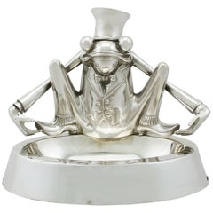 Edwardian Sterling Silver 'Frog' Inkwell