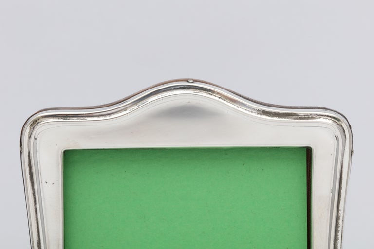 English Edwardian Sterling Silver Hump Top Picture Frame with Wood Back For Sale