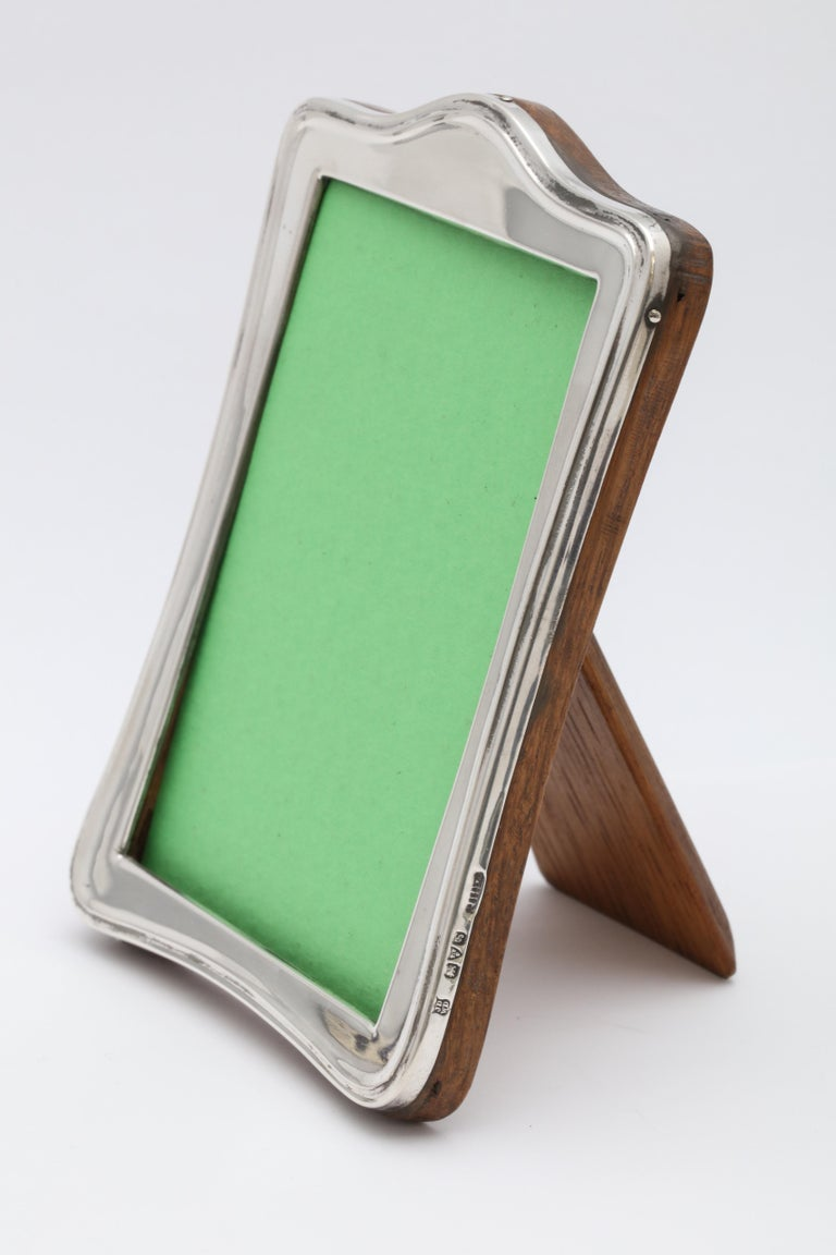 Edwardian Sterling Silver Hump Top Picture Frame with Wood Back For Sale 2
