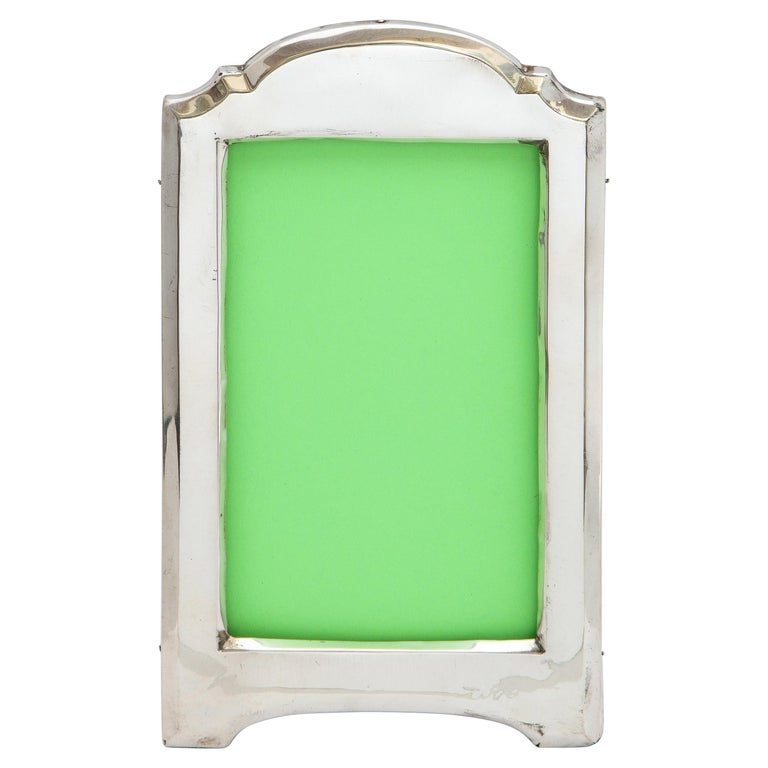Edwardian Sterling Silver Hump-Top Picture Frame with Wood Back For Sale