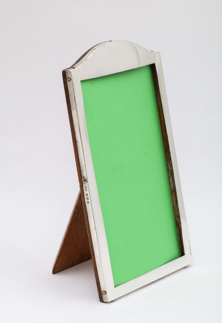 Edwardian Sterling Silver Hump, Topped Wood-Backed Picture Frame For Sale 2