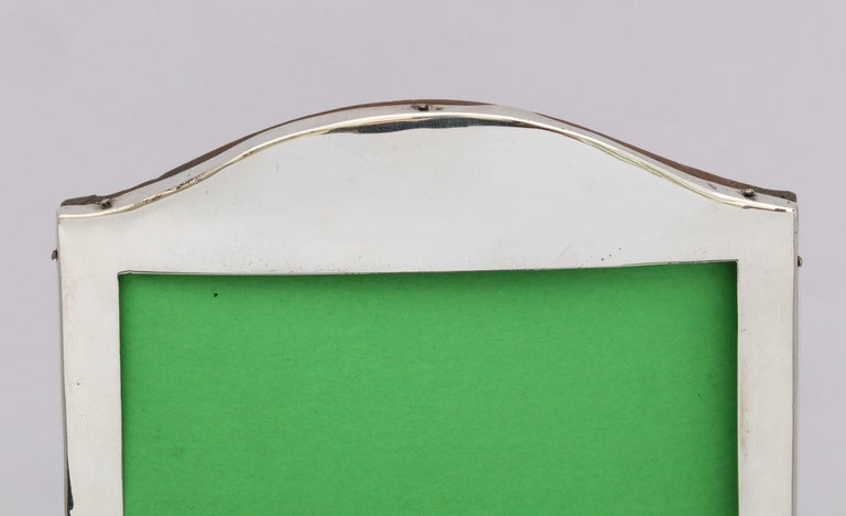Edwardian Sterling Silver Hump, Topped Wood-Backed Picture Frame For Sale 3