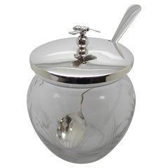 Edwardian Sterling Silver-Mounted Etched Honey Jar with Bumblebee Finial on Lid