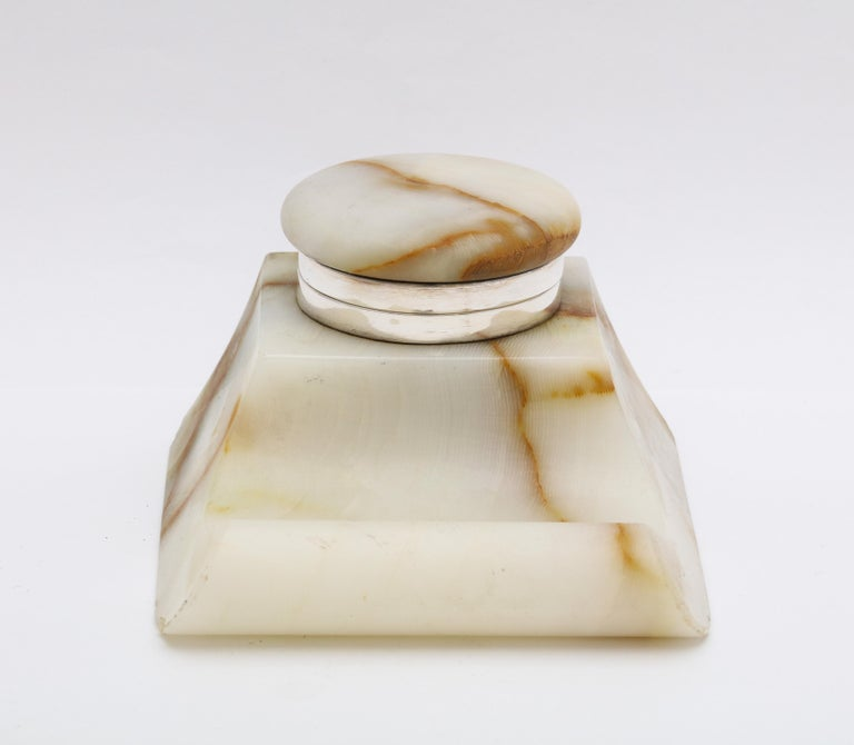 English Edwardian Sterling Silver-Mounted Onyx Inkwell For Sale