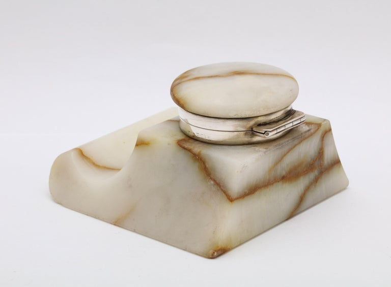 Early 20th Century Edwardian Sterling Silver-Mounted Onyx Inkwell For Sale