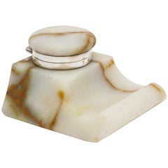 Edwardian Sterling Silver-Mounted Onyx Inkwell