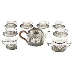 Edwardian Sterling SilverMounted Royal Worcester Ribbon & Medallion Tea Service