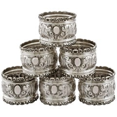 Edwardian Sterling Silver Napkin Rings by Henry Hobson & Sons