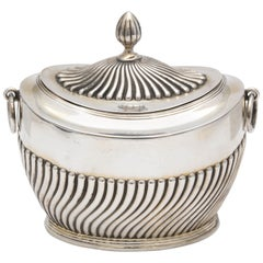 Edwardian Sterling Silver Neoclassical Style Tea Caddy with Hinged Lid