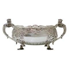 Edwardian Sterling Silver Oval Jardinière Sheffield 1905 Henry Williamson Ltd