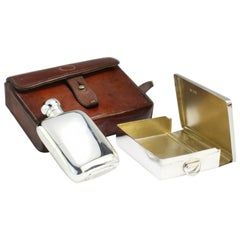 Edwardian Sterling Silver Set of Hip Flask and Sandwich Box in a Leather Case