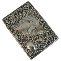 Edwardian Sterling Silver Stag Rococo Design Card Case