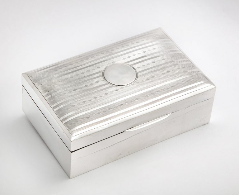 Edwardian Sterling Silver Table Box with Hinged Lid For Sale 6