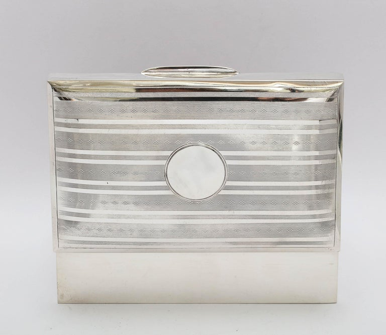 Edwardian Sterling Silver Table Box with Hinged Lid For Sale 9