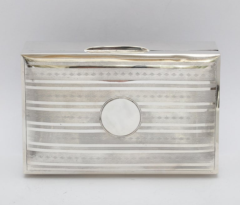 Edwardian Sterling Silver Table Box with Hinged Lid For Sale 11