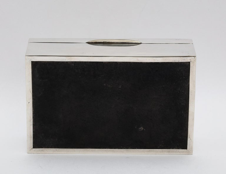Edwardian Sterling Silver Table Box with Hinged Lid For Sale 12