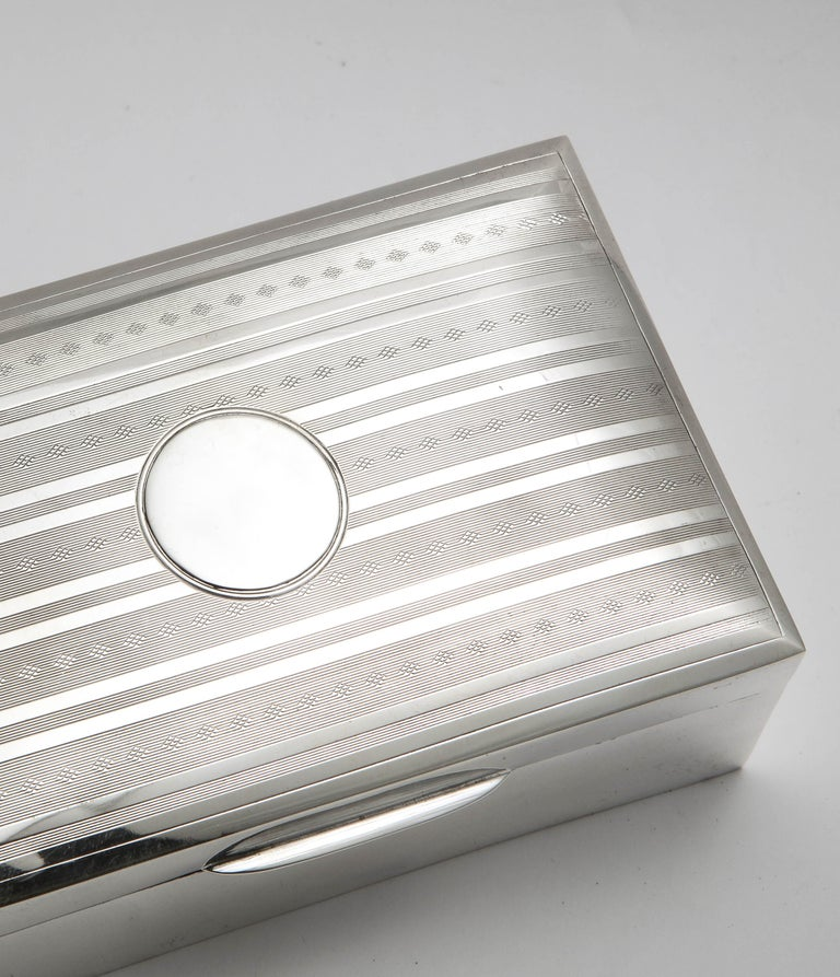 Edwardian Sterling Silver Table Box with Hinged Lid For Sale 13